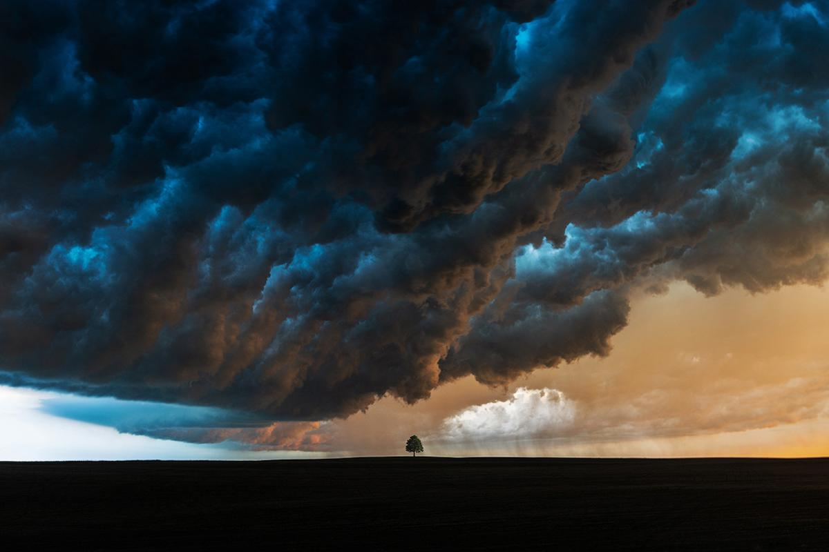 Honorable mention, Landscape. The Whale's Mouth Cloud, the cloud that appears when the first gust front of a storm is passing over, photo captured while on a storm chasing trip in South Dakota, US