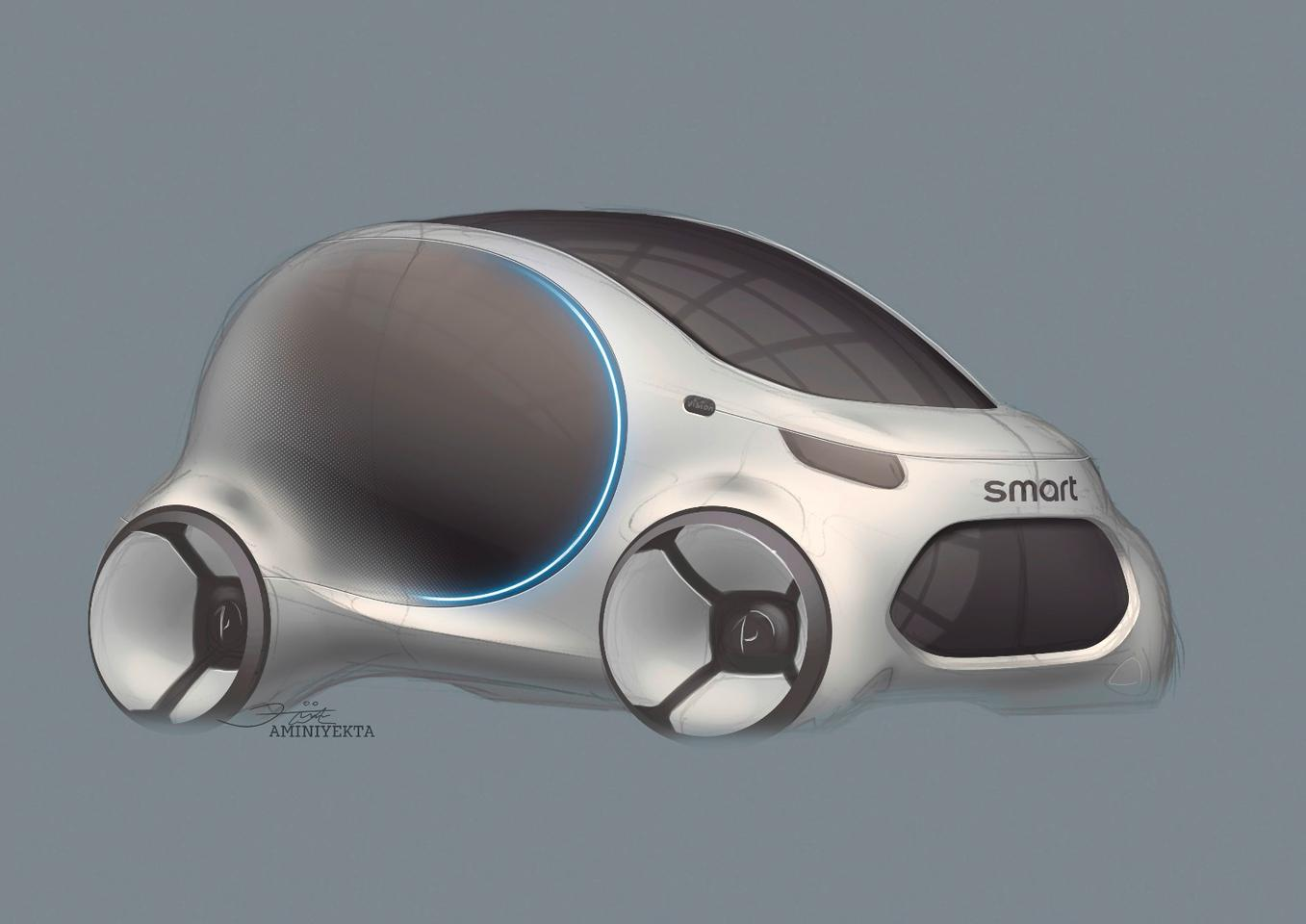 Sketch of the Smart Vision EQ ForTwo concept