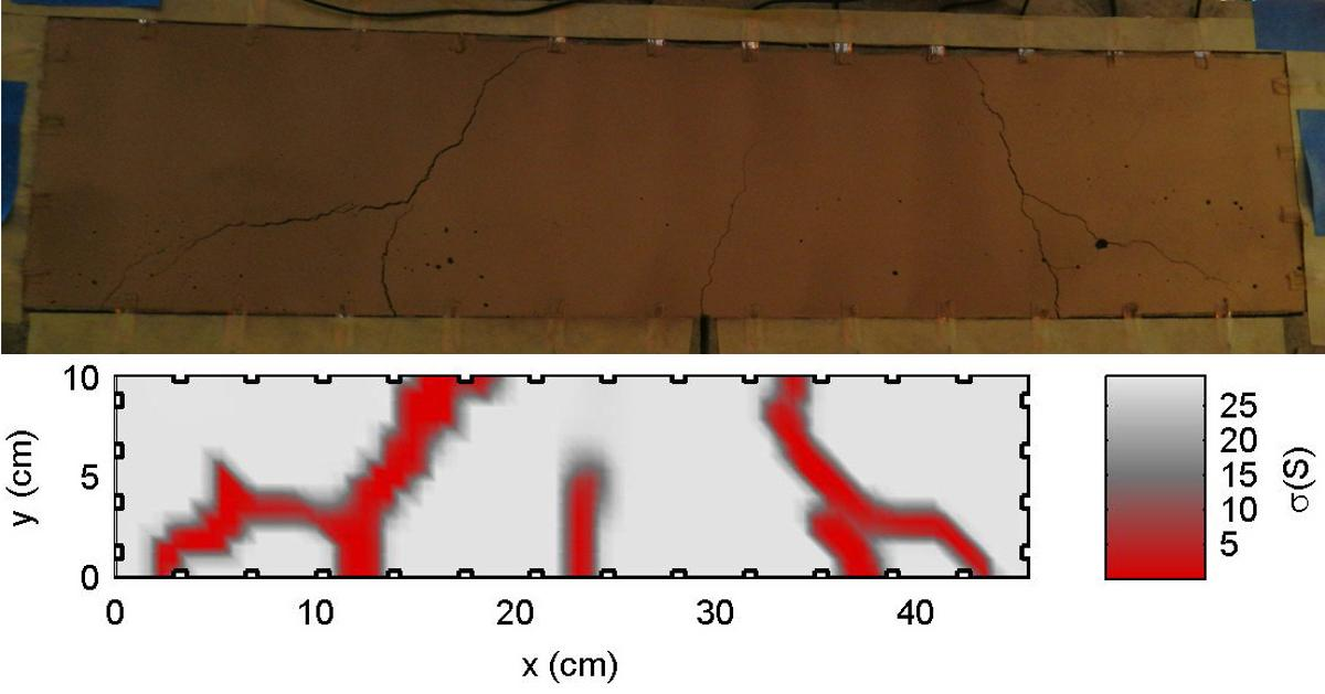 A concrete beam coated with the skin (above), and a computer map of the cracks in it