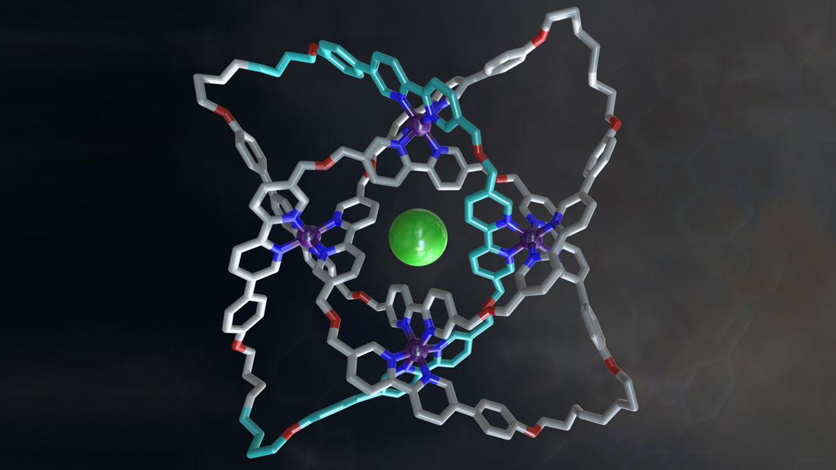 The X-ray crystal structure of a 192-atom-loop molecular 819 knot featuring iron ions (purple), oxygen atoms (red), nitrogen atoms (dark blue), carbon atoms (shown in metallic grey, with one of the building blocks shown in light blue) and a single chloride ion (green) at the center of the structure