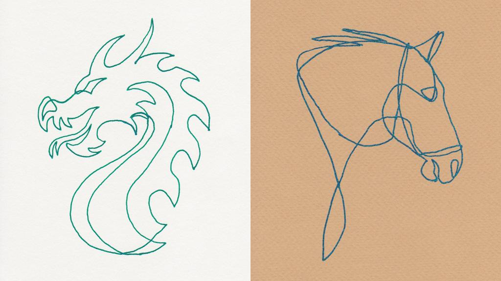 Examples of the kind of simple line drawings produced by the Drawmaton