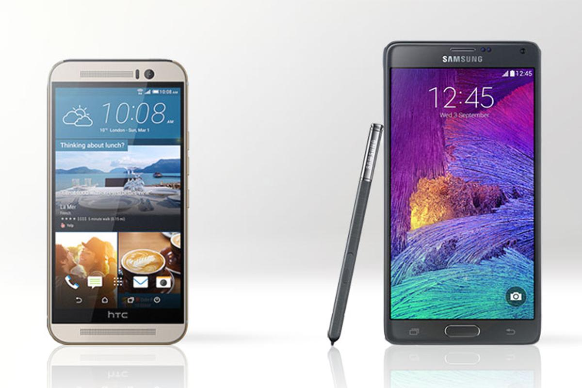 Gizmag compares the features and specs of the HTC One M9 (left) and Samsung Galaxy Note 4
