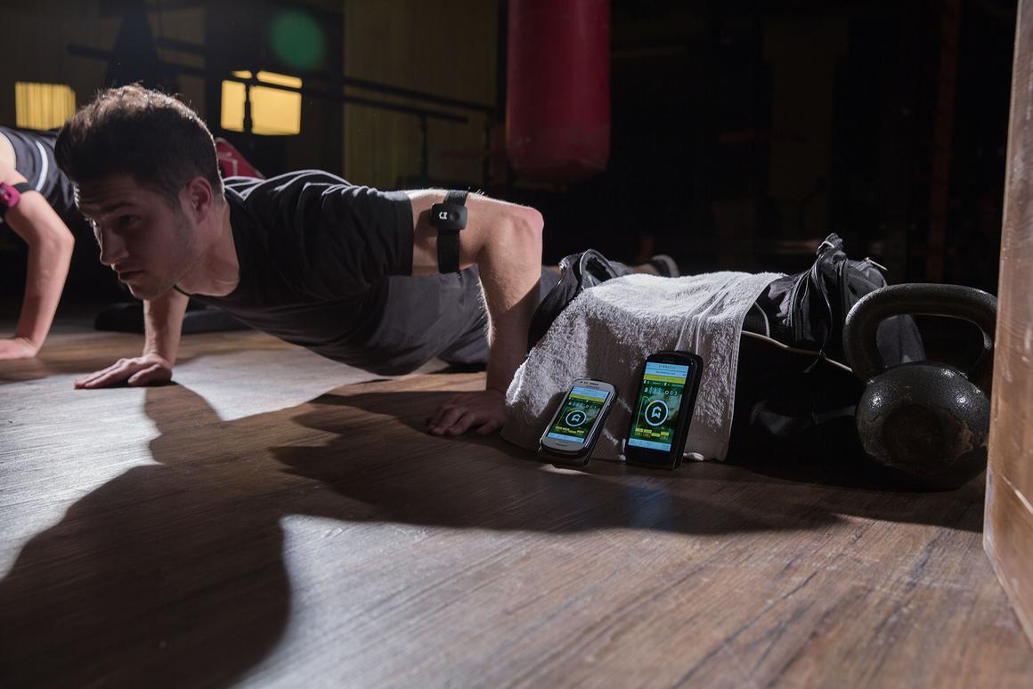 Gymwatch uses an array of built-in sensors and inverse dynamics to track motion and strength across different exercises