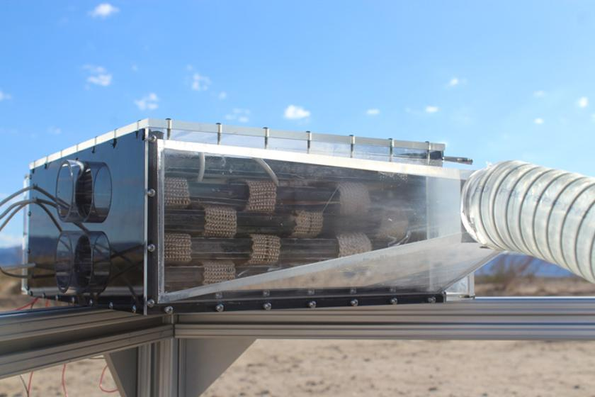 The water harvester is made up of a fan that blows air over cartridges of metal-organic frameworks inside a box, which collect water and release it into a condenser.