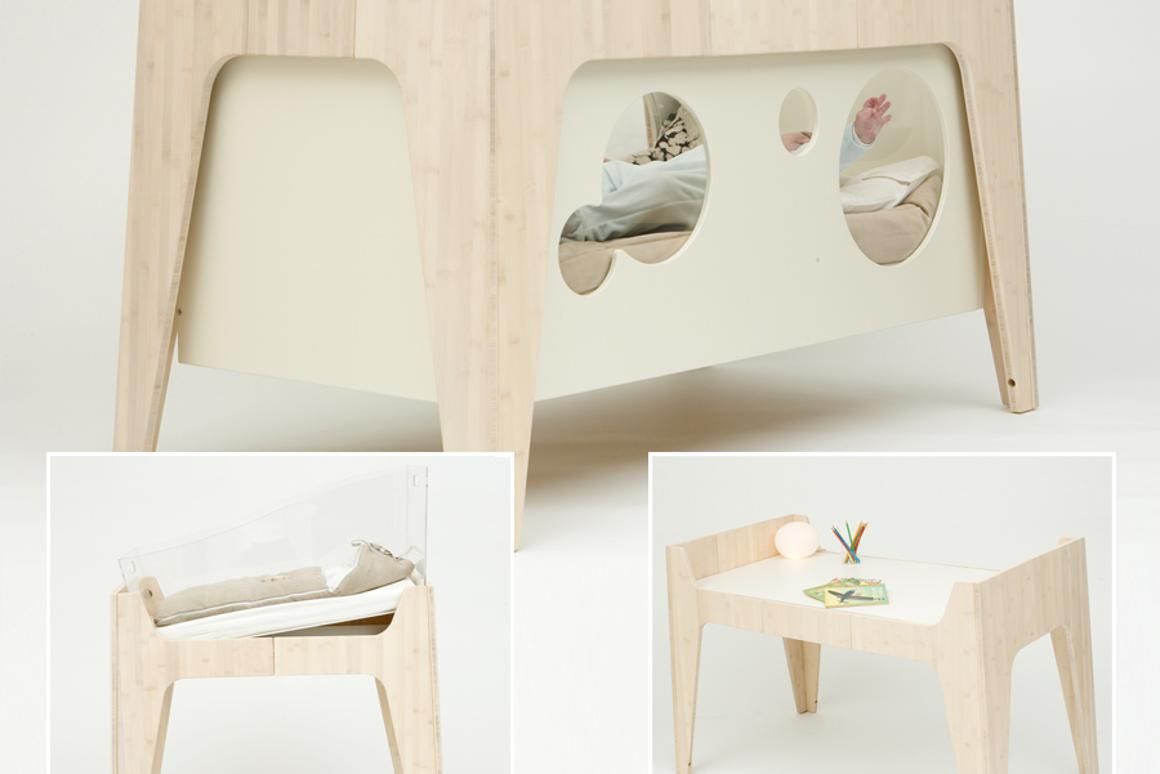 Castor & Chouca's Soleil convertible baby bed starts life as a cradle and ends up as a junior desk