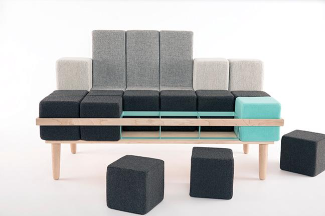 The Bloc'd Sofa by Scott Jones comprises a steel and wood frame into which firm foam blocks are placed