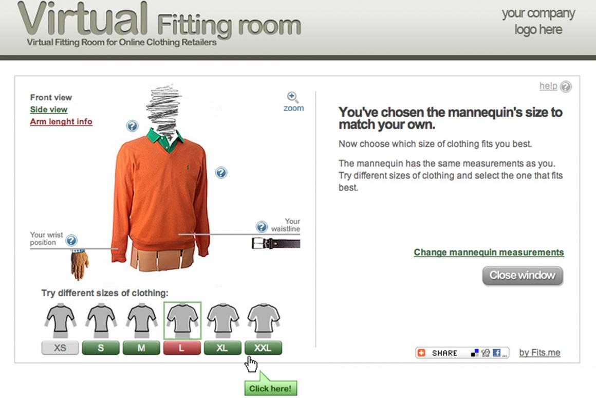 Fits.me lets you choose the size that suits you best from the comfort of home
