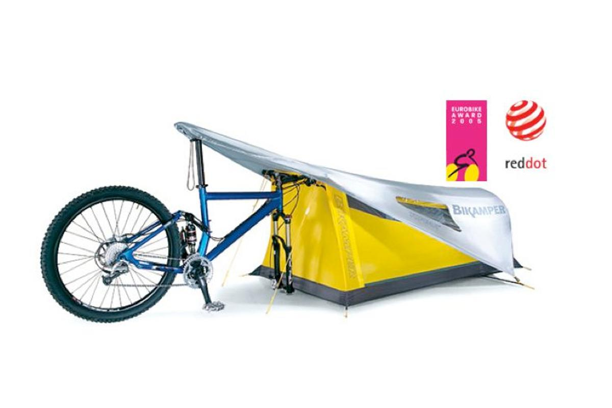 The Bikamper replaces tent poles with the user's bicycle