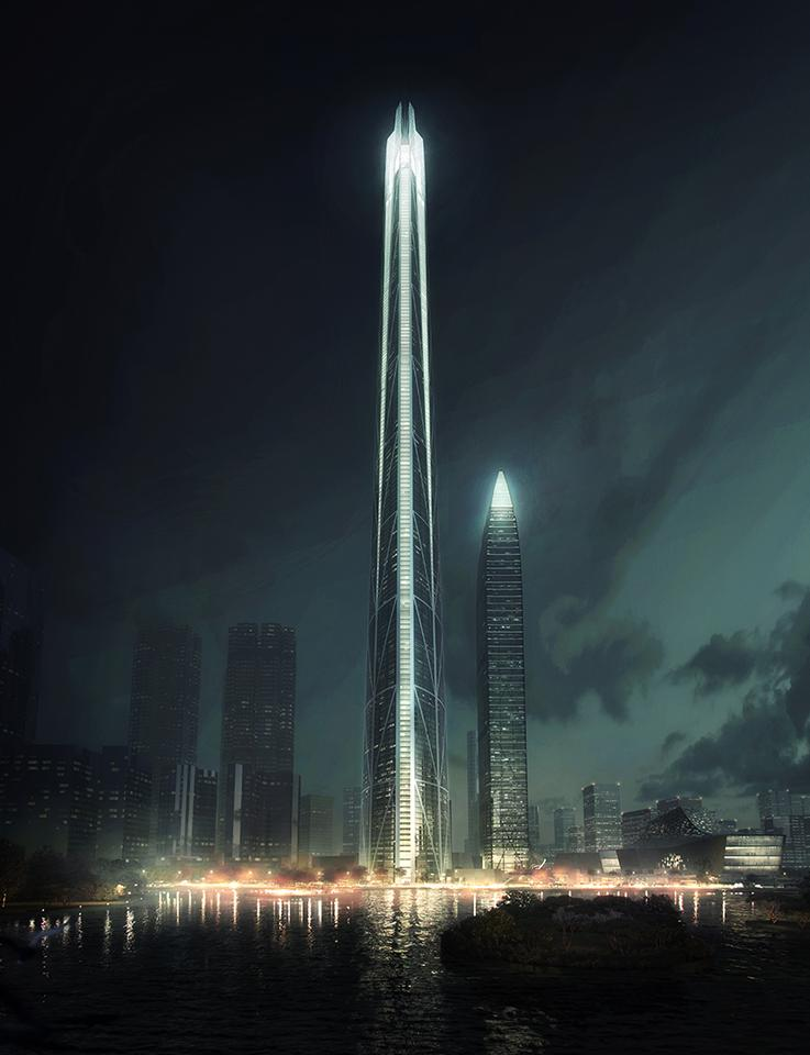 The project is one of a cluster of tall skyscrapers planned for Shenzhen's Caiwuwei financial and commercial area