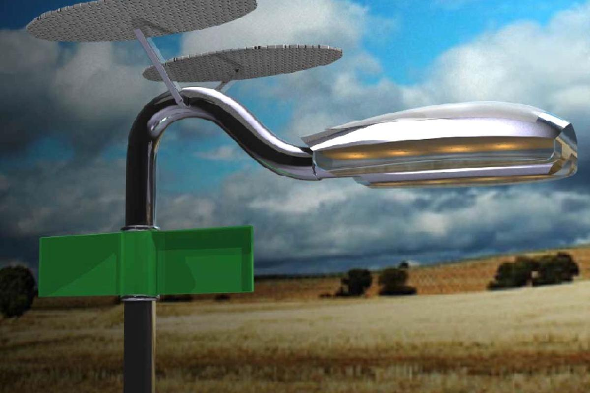 The Holonic Streetlamp utilizes both solar and wind power