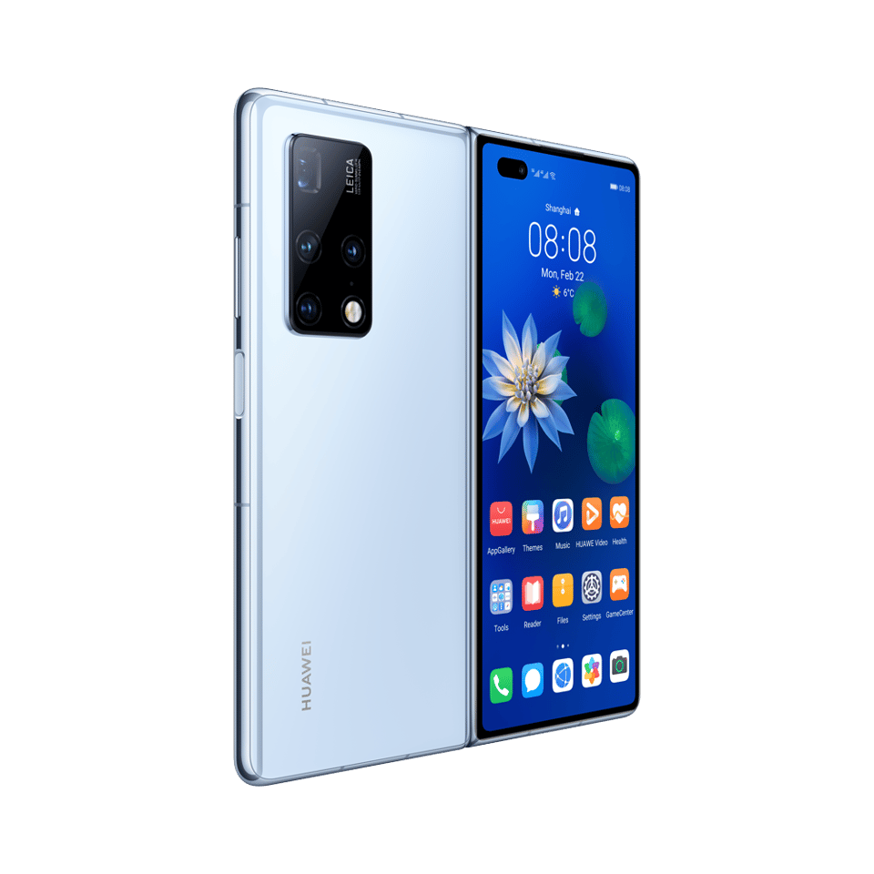 Huawei has added a 6.45-inch external display to the Mate X2, which sits around back with the Leica camera array when folded out