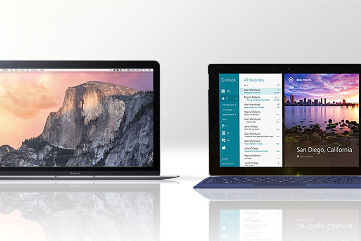 Gizmag compares the features and specs of the new 12-in MacBook (left) and the Surface 3