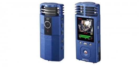 The Q3 Handy Video Recorder records video and stereo sound via two built-in condenser microphones
