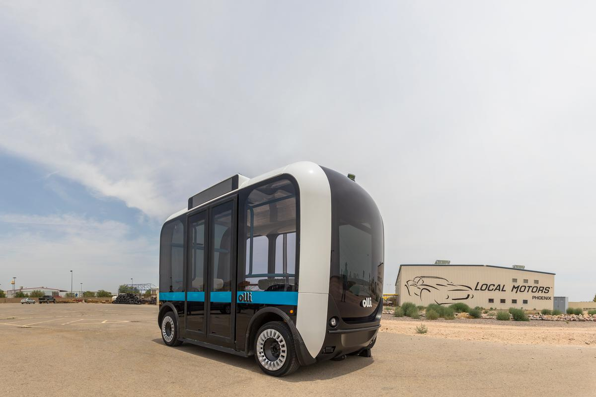 Local Motors demonstrated Olli the autonomous bus for the first time at the opening of its new facility just outside the nation's capital