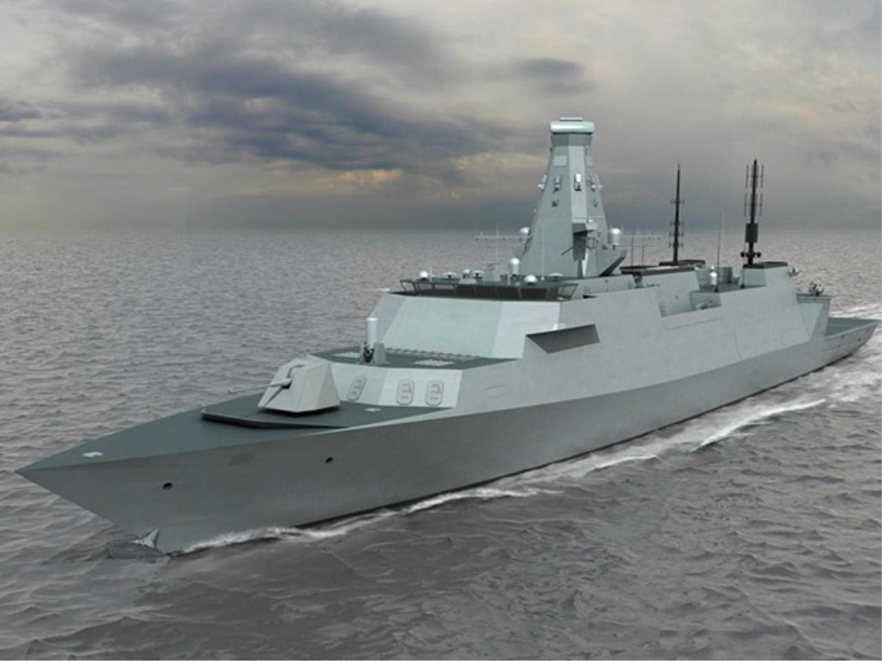 The Type 31e is intended to augment the fleet's Type 26 frigates, shown here in an artist's concept