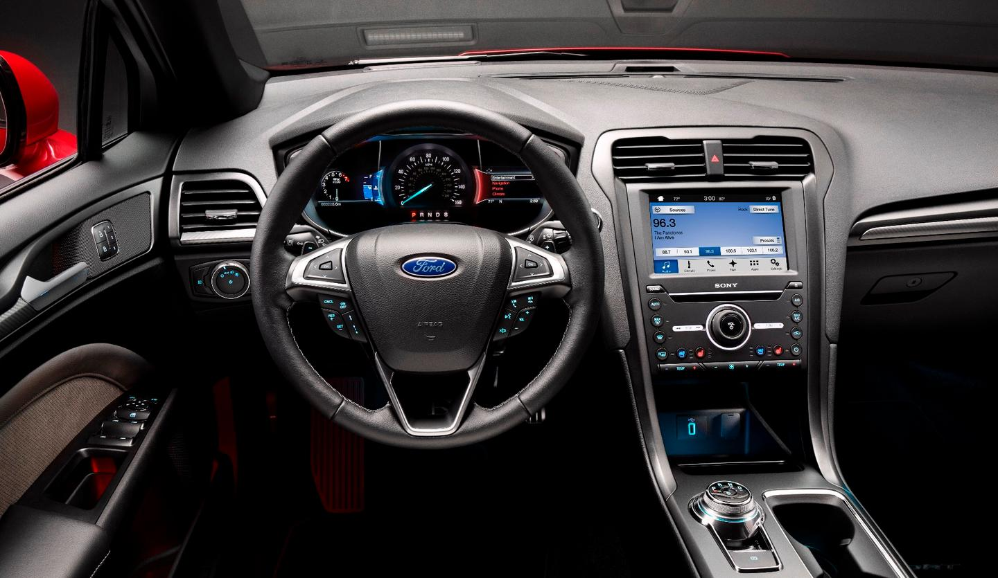 The Fusion's interior remains largely unchanged from the original car's, but that's no bad thing