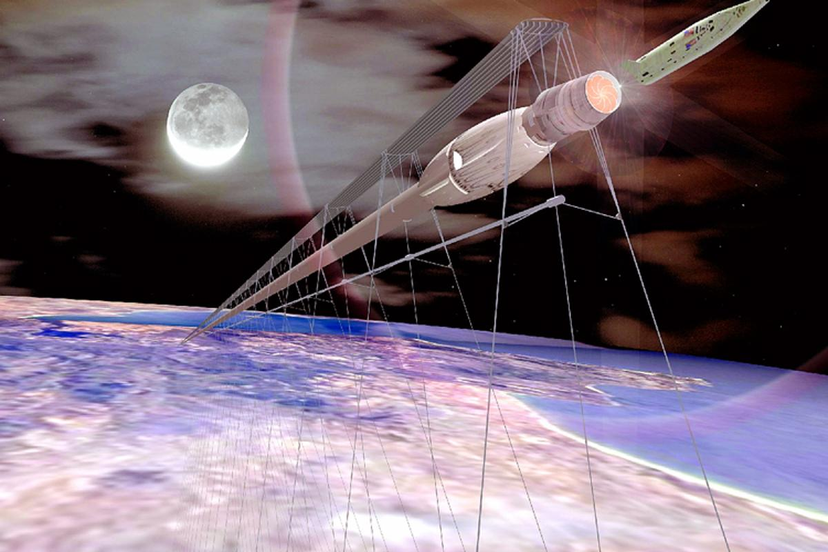 The Startram orbital launch system would transport passengers and cargo into space in a magnetic levitation (maglev) train