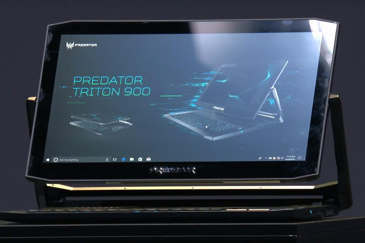 The Predator Triton 900 gaming laptop sports Ezel arms that allow gamers to get closer to the onscreen action