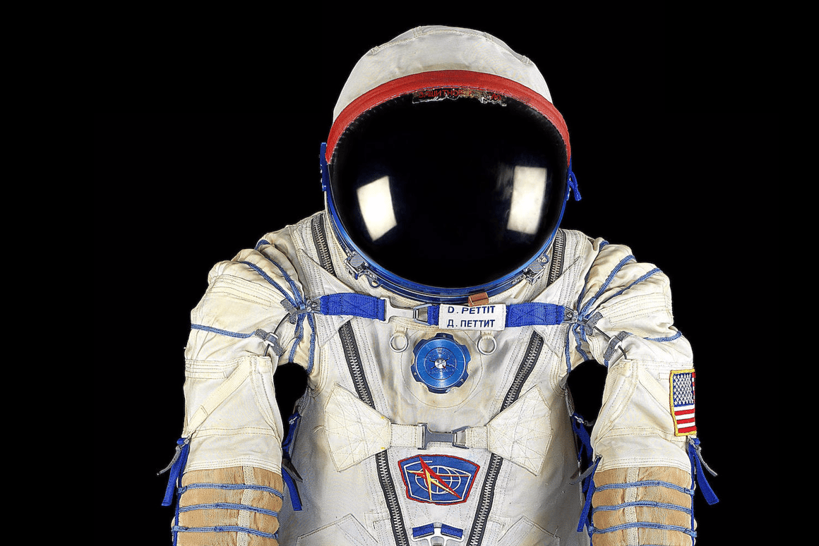 """This """"Sokol KV-2"""" (""""Falcon"""" in Russian) pressure suit is one of the items up for bid at Bonhams' Space History auction"""