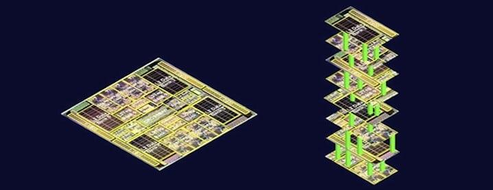 A standard computer chip, compared to an exploded view of Stanford's three-dimensional design