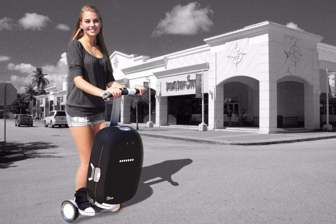 Olive is an intelligent suitcase that can be ridden like a Segway