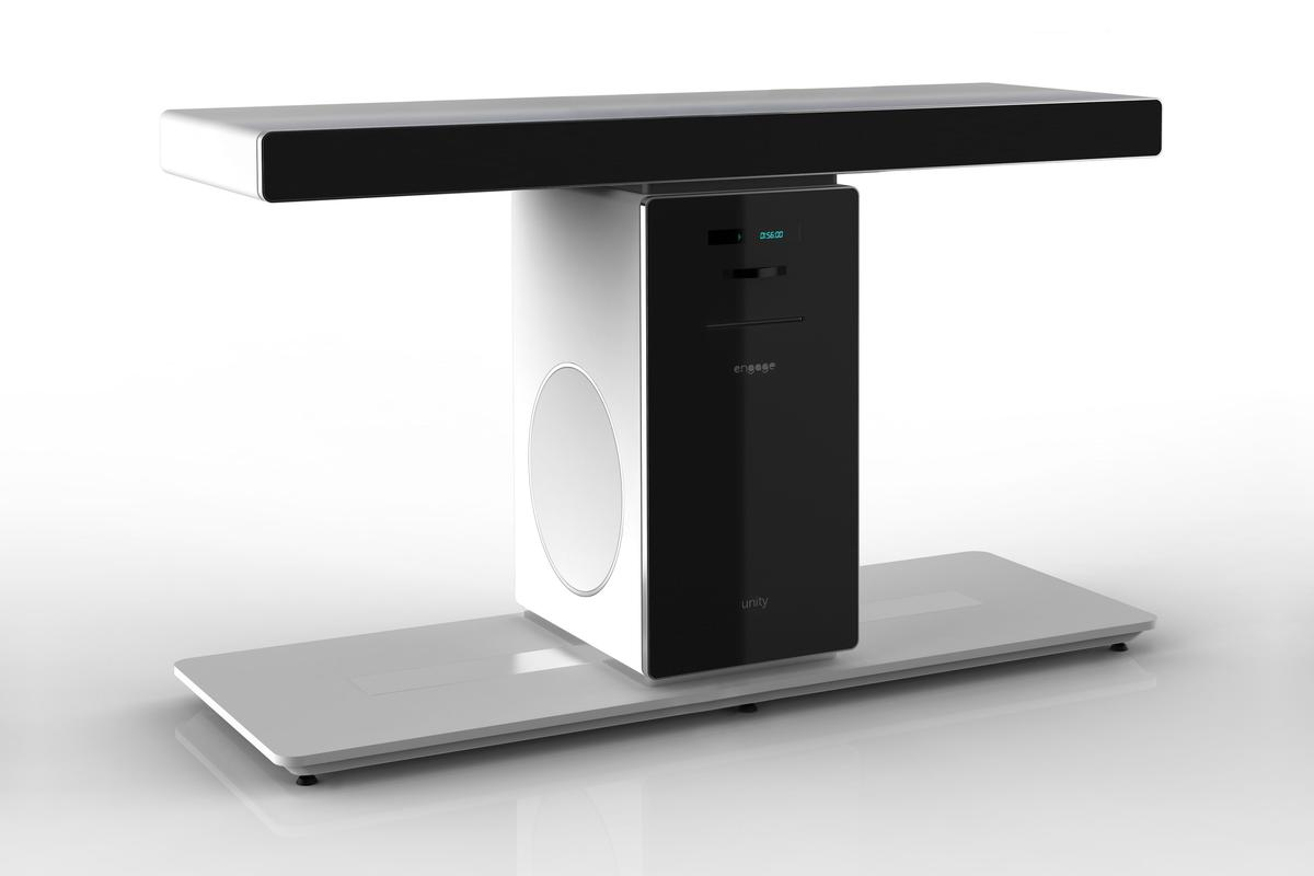 "The ""tShape"" Unity Home Theater System is a TV stand that packs a 5.1 speaker system, amplifier and Blu-ray player"