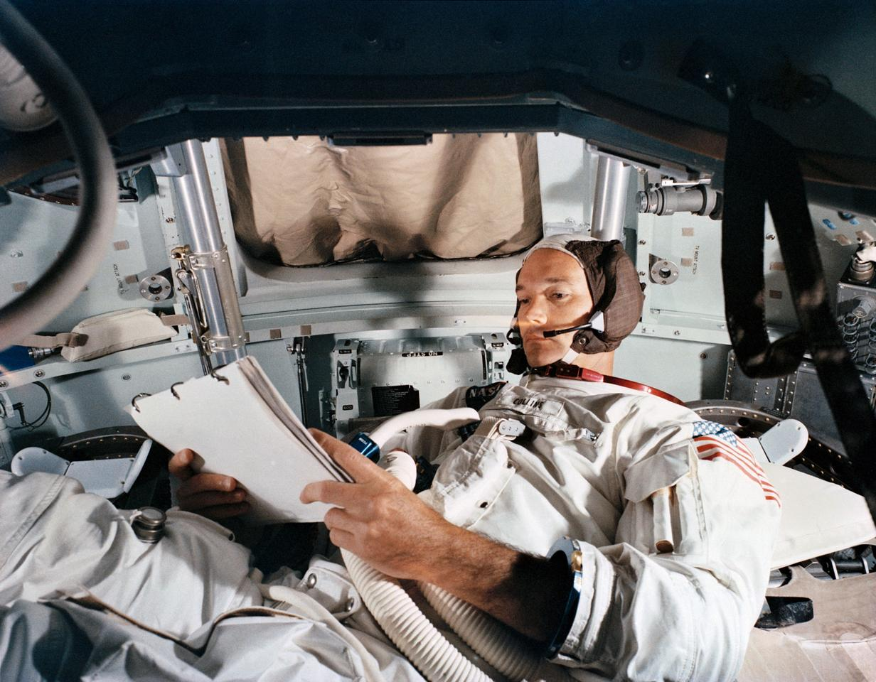Michael Collins in the Apollo Command Module simulator