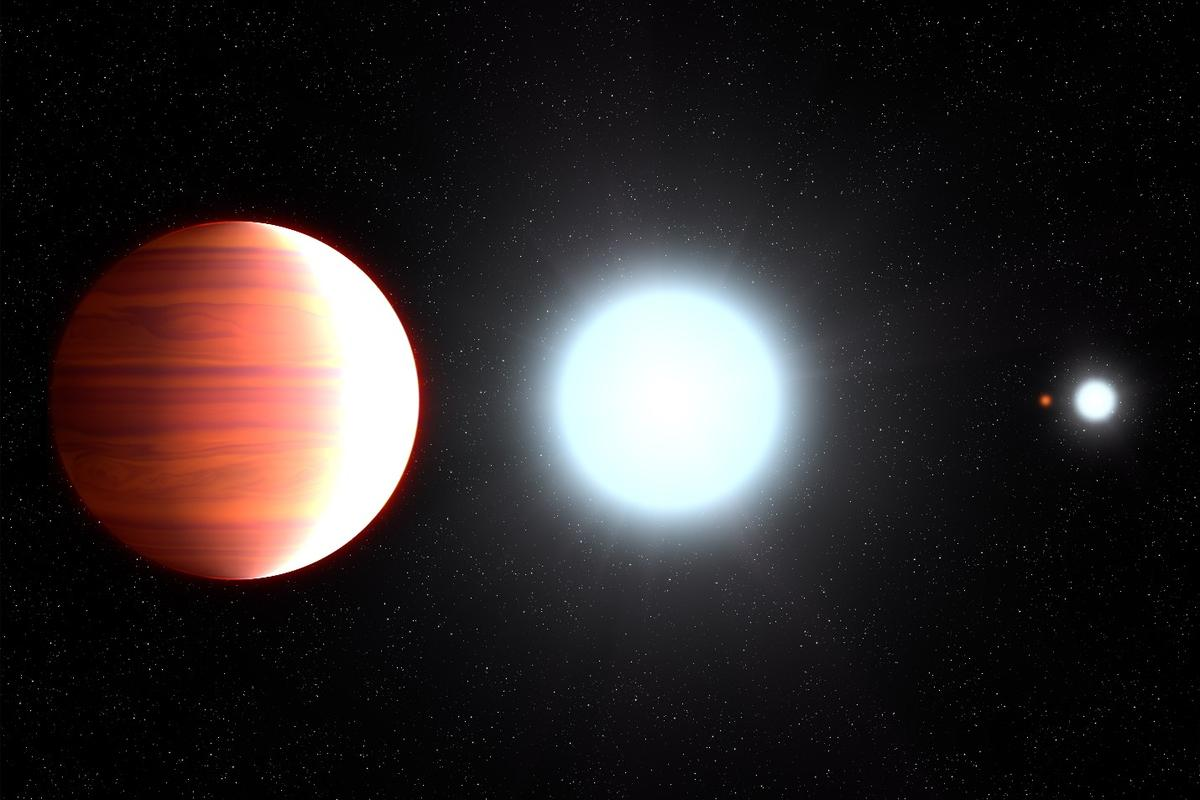 Artist's impression of Kepler-13Ab orbiting its parent star, Kepler-13A – the planet orbits in a multiple star system