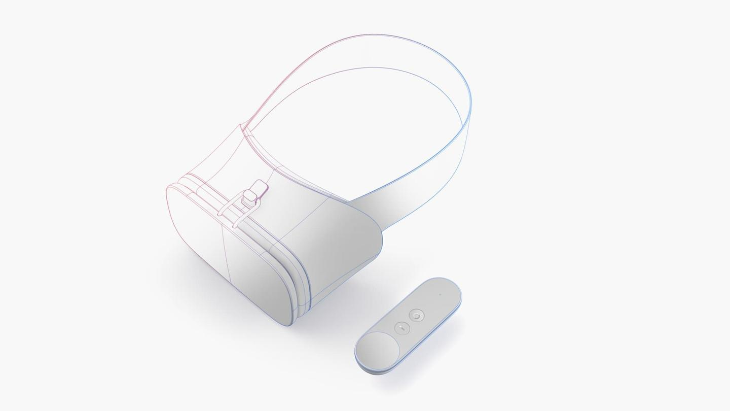 Google's reference design for a Daydream headset and (lone) controller