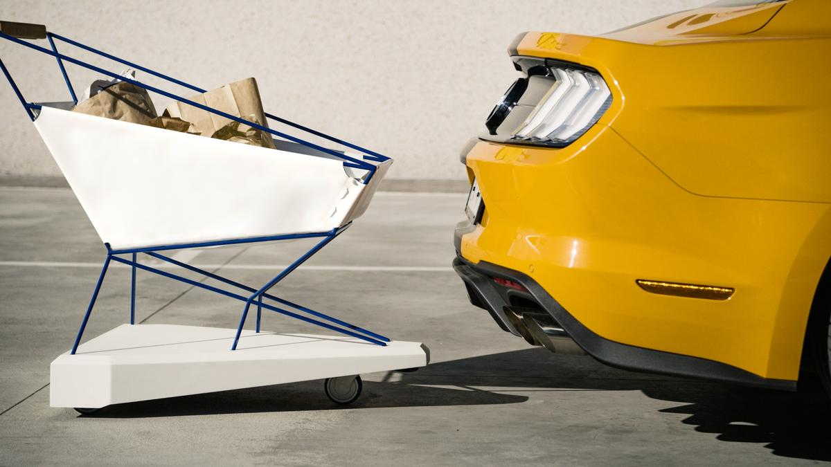 The system could keep unmanned carts from rolling into vehicles in supermarket parking lots