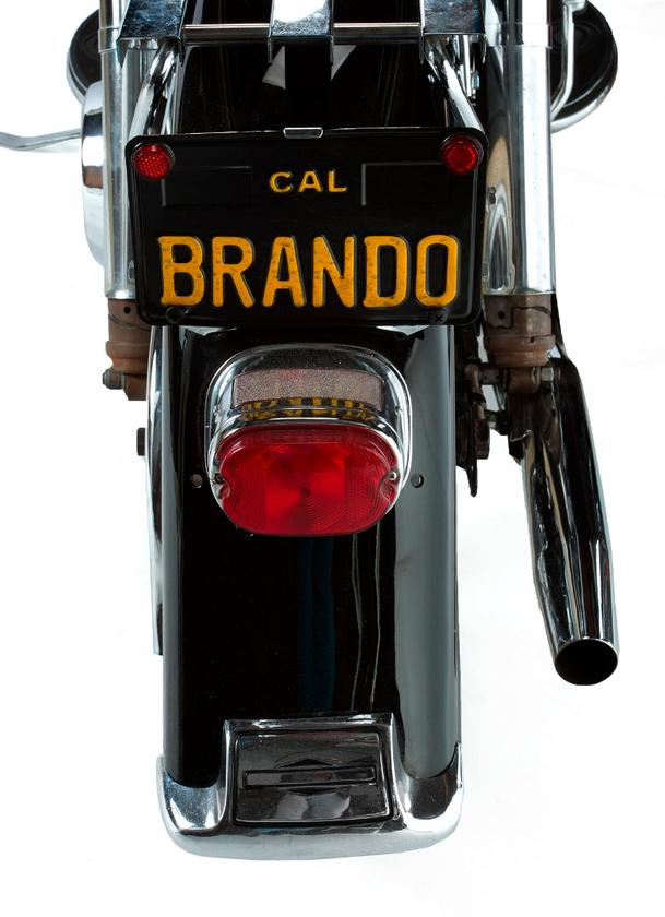 The black Harley-Davidson FLH Electra-Glide motorcycle purchased by Brando on April 8, 1970, and was sold showing 13,859 miles.