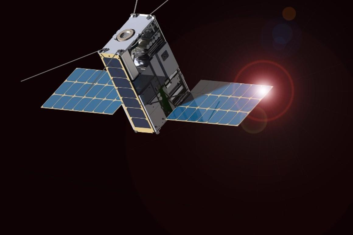 The Lunar IceCube is a rectangular satellite made up of six standard CubeSat units, each measuring 10 cm (4 in) on a side