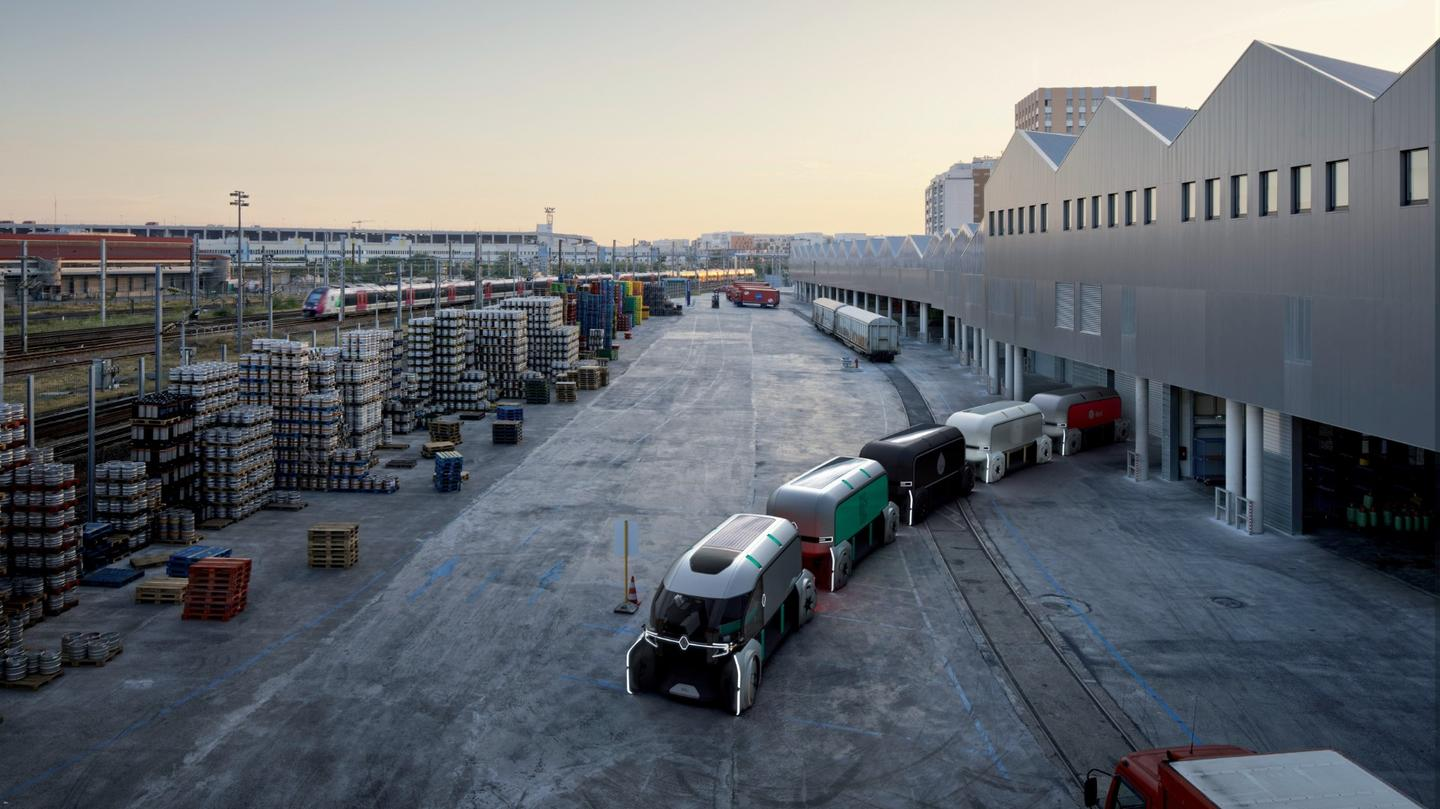 Convoys of EZ-Pro electric robo-pods led by a manned autonomous package carrier could leave a central hub and head out for last mile deliveries