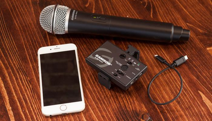 The Samson Go Mic Mobile comes with either a handheld mic (pictured) or a lavalier