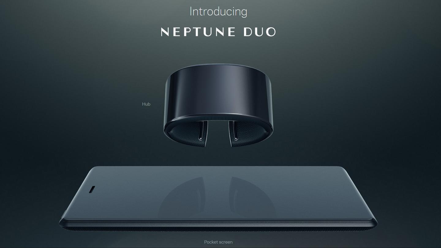 The Neptune Hub (watch) has the smarts, while the pocket screen (phone-like device) serves as a second screen for larger-form content