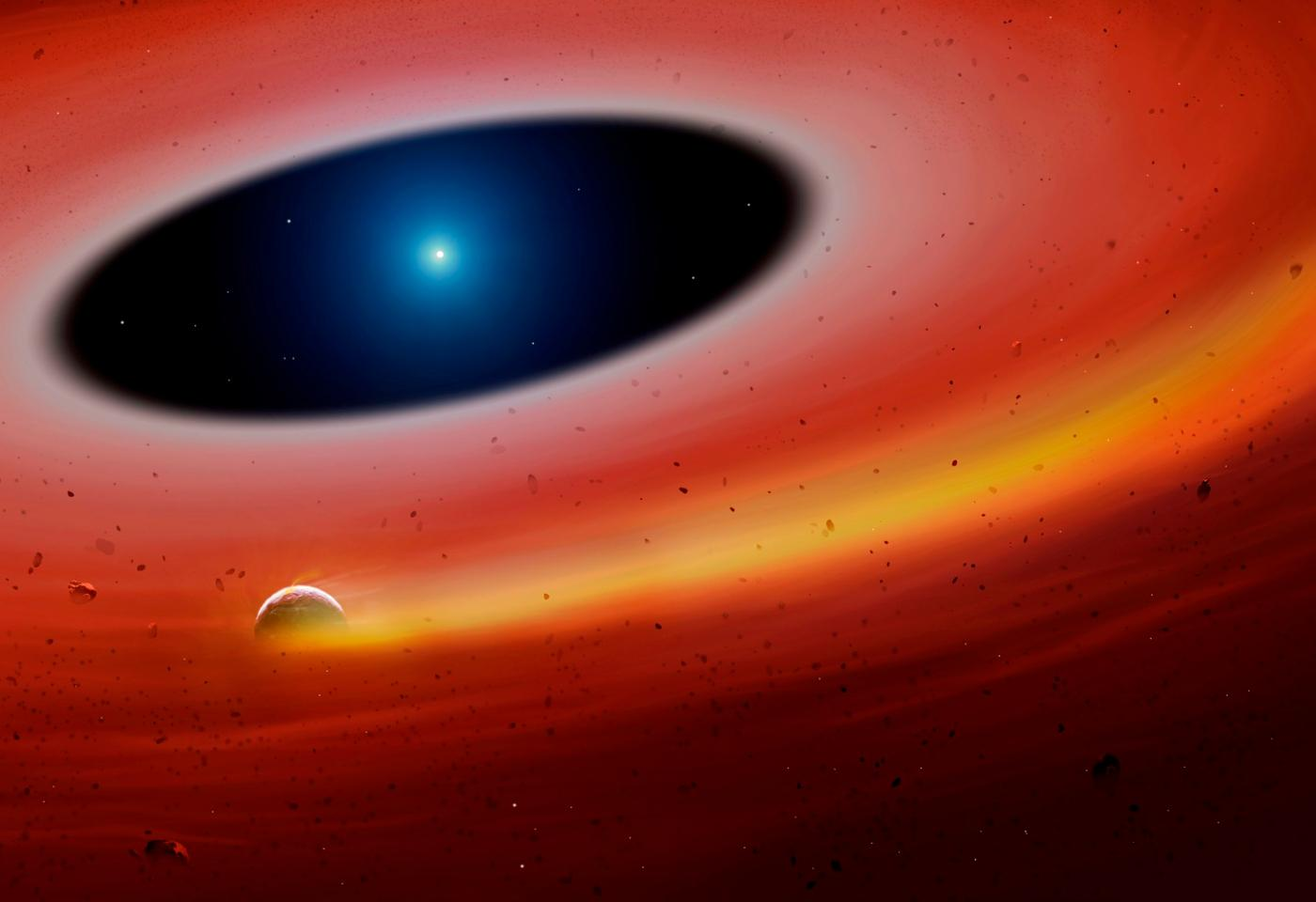 Artist's impression of a planetary fragment orbiting a white dwarf
