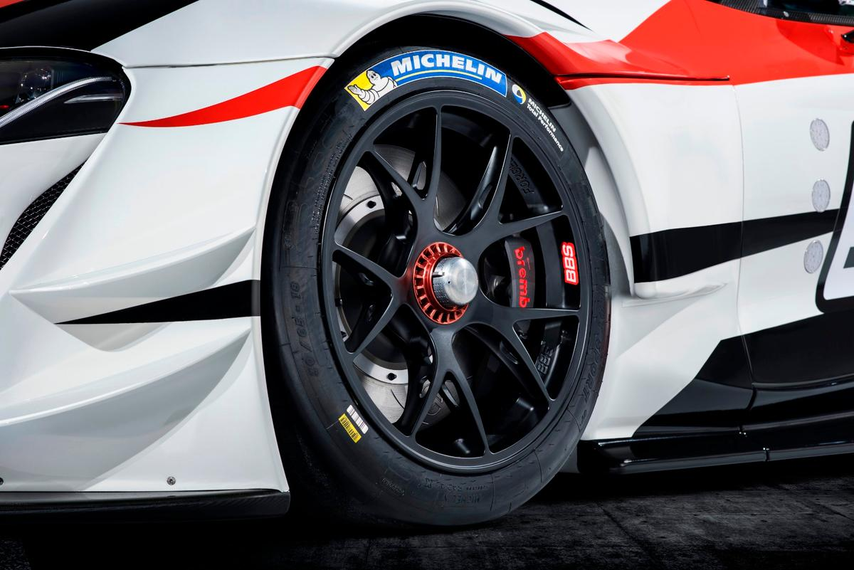 The wheelson the Toyota GRSupra Racing Conceptare BBS racing units with center-nut attachments for pit changes