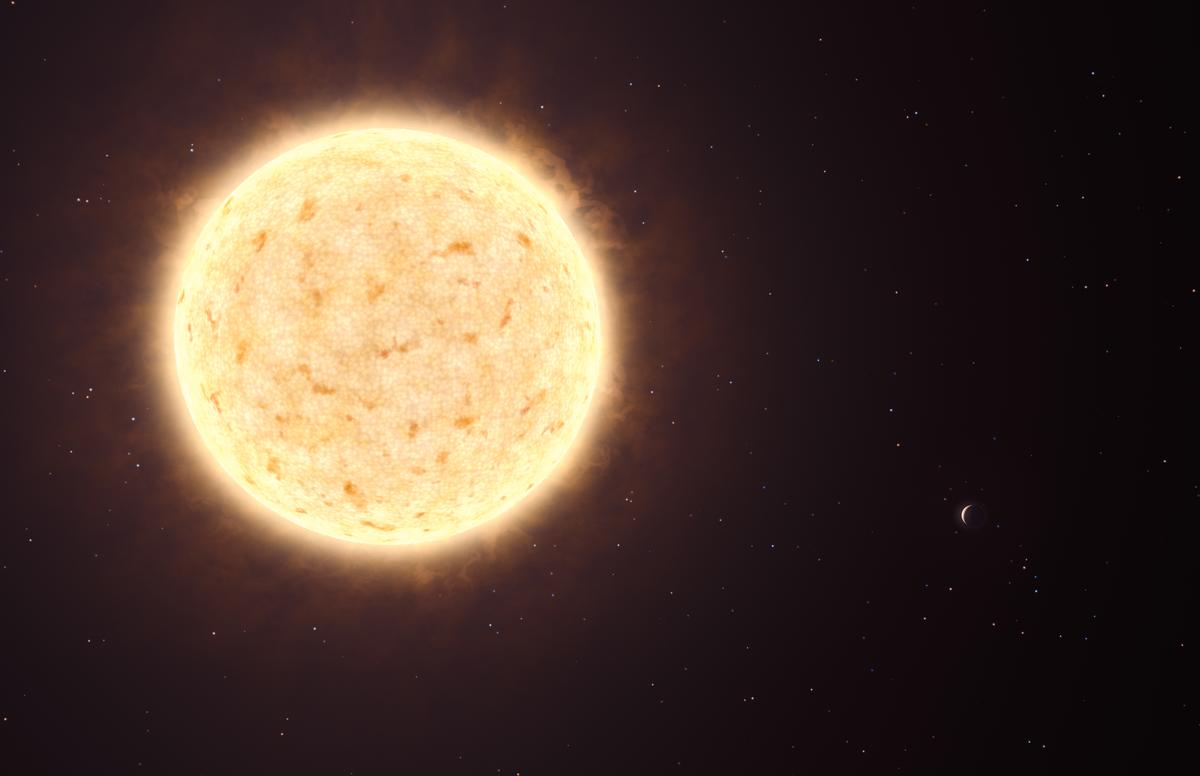 Artist's impression of the yellowish star HIP 13044 and, on the bottom right, its planet HIP 13044 b (Credit: ESO/L. Calçada)
