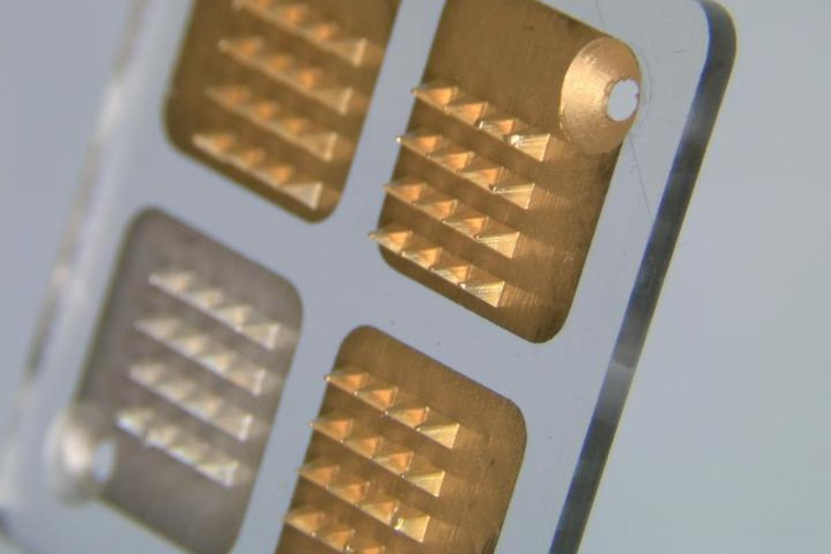 A close-up view of the microneedle patch, which has previously been used to monitor blood sugar levels