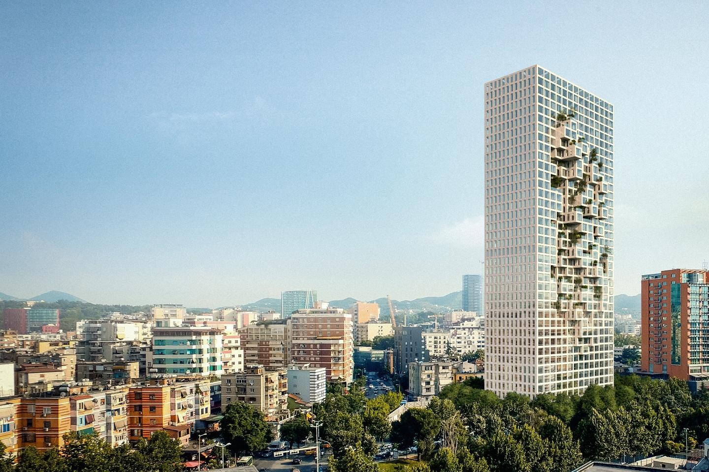 Downtown One Tirana will rise to a height of 140 m (459 ft)