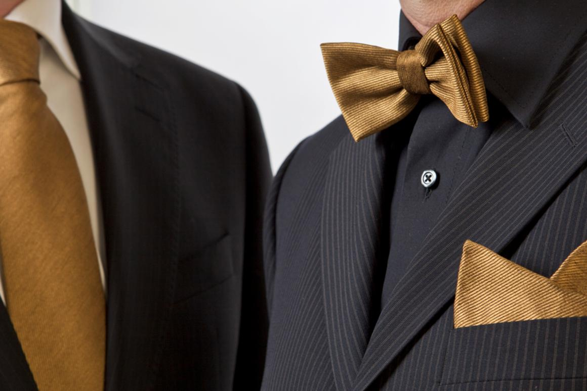 Necktie, bowtie and handkerchief made with the worlds first 24 carat gold-coated silk (Photo: EMPA)