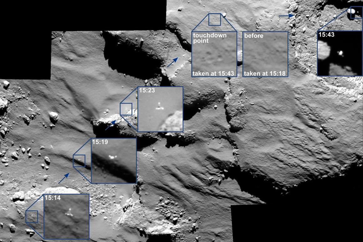 Photo mosaic showing Philae's approach, landing, and bounce (Image: ESA/Rosetta/MPS for OSIRIS Team MPS/UPD/LAM/IAA/SSO/INTA/UPM/DASP/IDA)