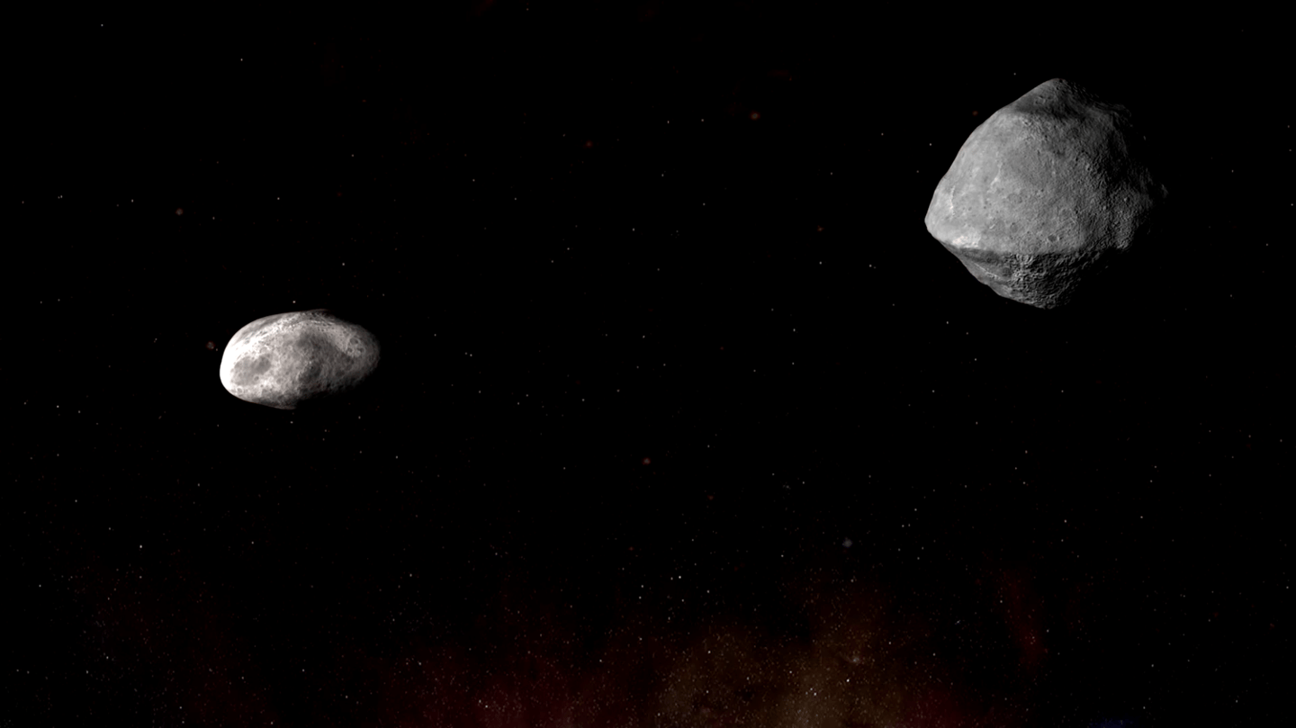An artist's impression of the Didymos binary system – the smaller asteroid, Didymoon, is roughly the size of the Great Pyramid of Giza