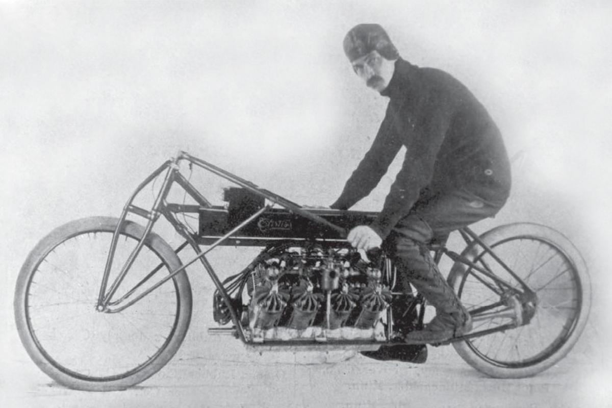 Curtiss installed one of his 4000cc V8 aircraft engines into a motorcycle and blew all competitors into the weeds with a run of 136.27 mph on 24 January 1907