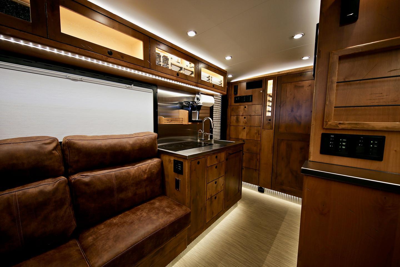 The Boulder floor plan includes vis-a-vis medium sofas up front
