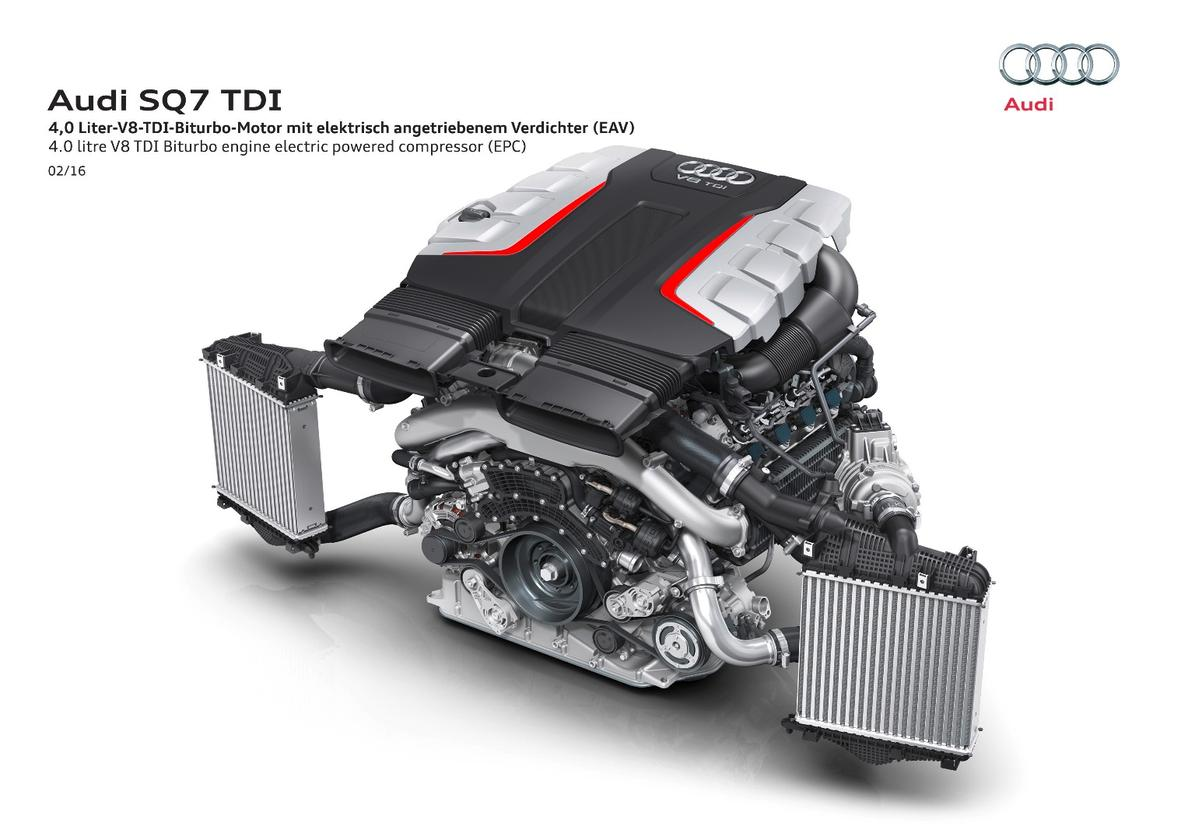 The SQ7 is fitted with an electric compressor designed to cut turbo lag