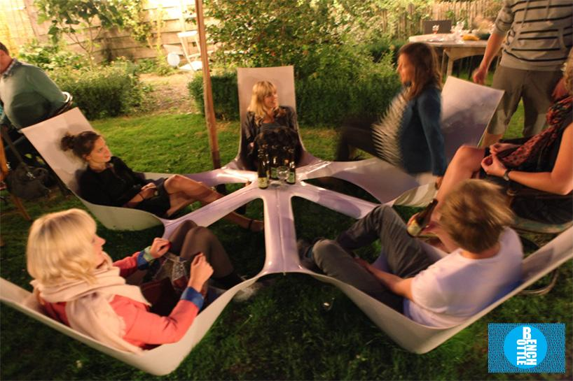 Bottlebench features five reclined seats that are all fixed to a central point