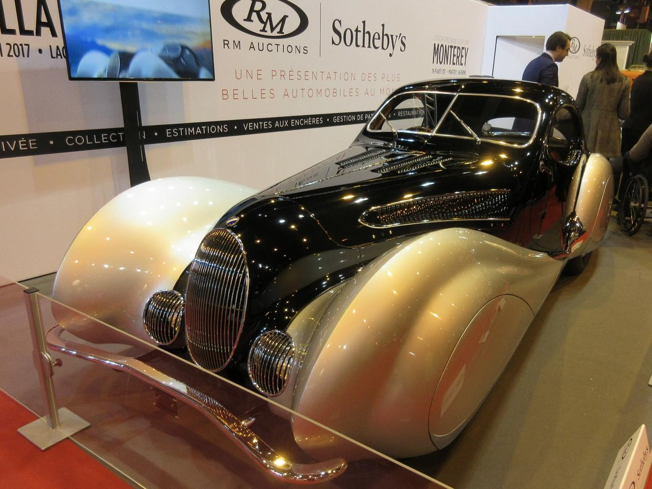 "One of the stars of the exhibits in Paris was the RM-Sothebys stand which carried two cars to be auctioned later in the year. This 1937 Talbot-Lago T150C SS ""Goutte d'Eau"" Coupé by Figoni et Falaschi will go to auction at Villa Erba."