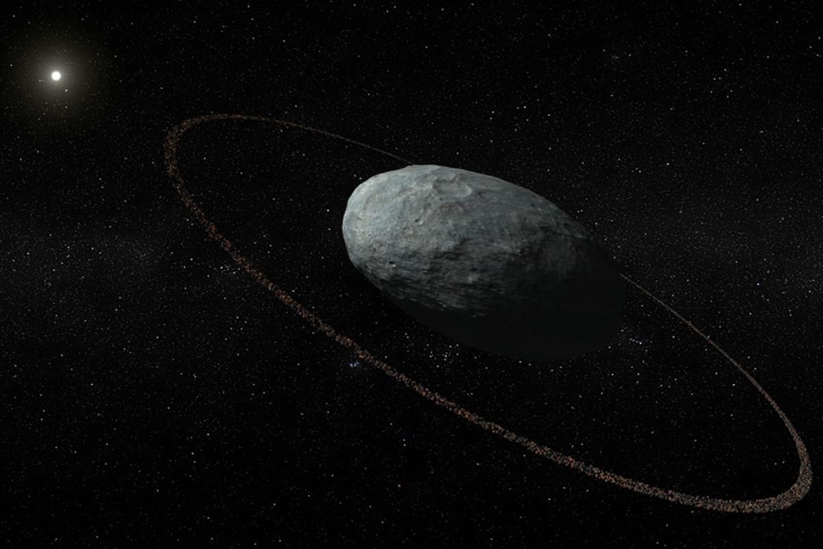 An artist's impression of the trans-Neptunian dwarf planet Haumea, with the ring that was just discovered around it