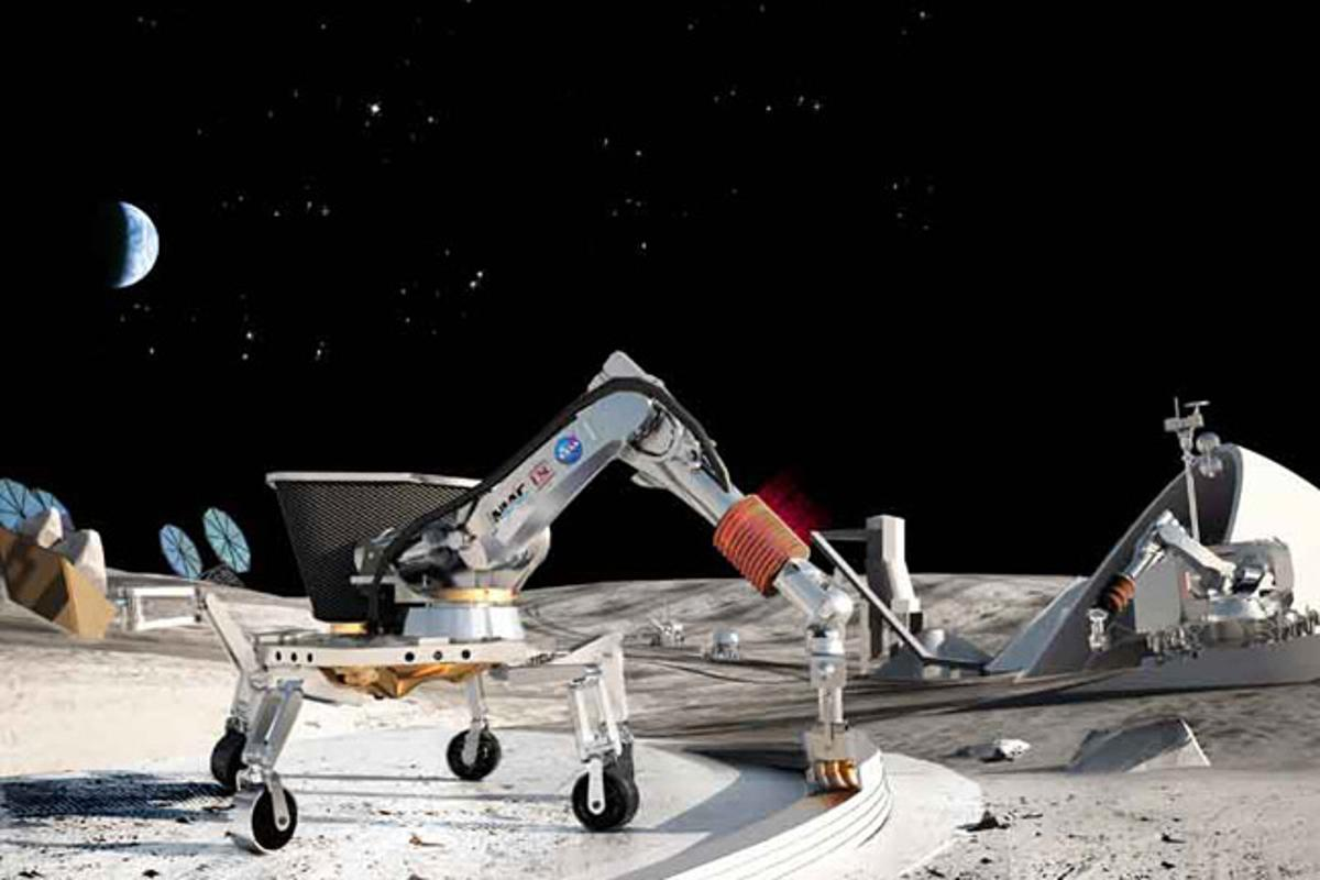 A proposal for building using lunar soil to make concrete for outposts was among the winners announced by NASA (Image: NASA)